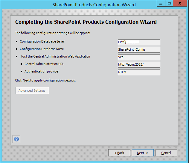 SharePoint Products Configration Wizard3