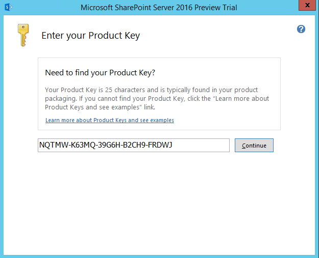 SharePoint Server 2016 product key