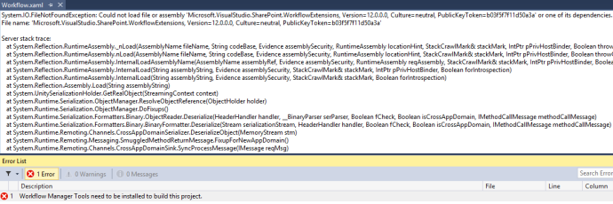 SharePoint Workflow Designer Fails to Load in Visual Studio 2013