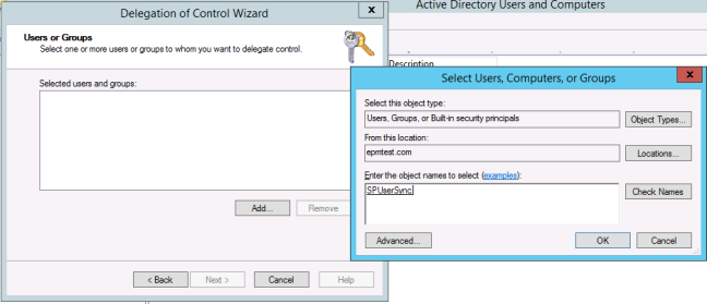 add user to delegation control in windows server