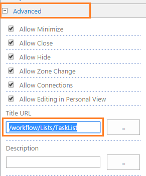 Advanced setting in SharePoint Web Part - Title URL