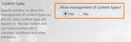 Allow management of content types
