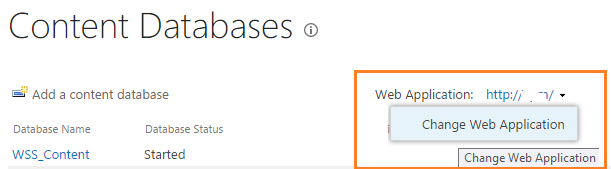 Change web application - Manage content database in SharePoint