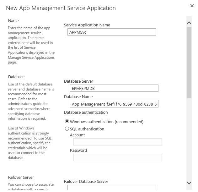 Configure App Management Service