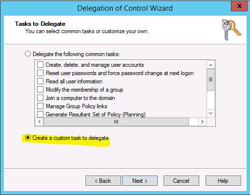 Create custom task to delegate In Windows Server