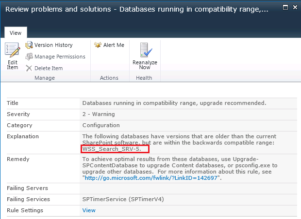 db running in compatability range details