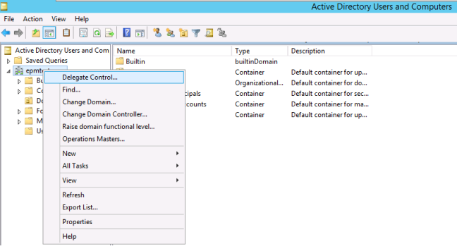 Delegate Control in Active Directory