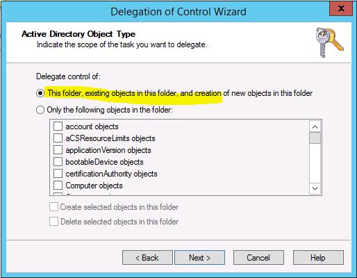 delegate this folder in windows server