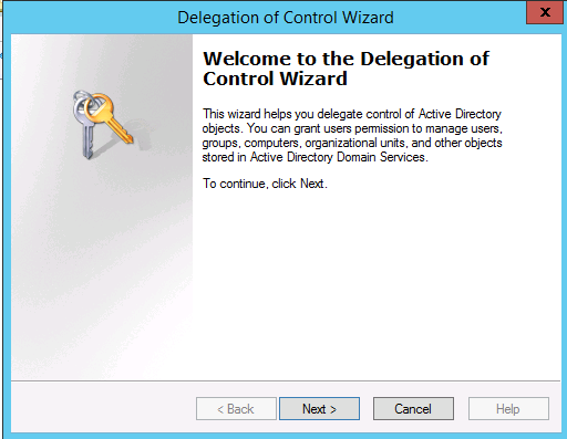 delegation control wizard in Windows Server