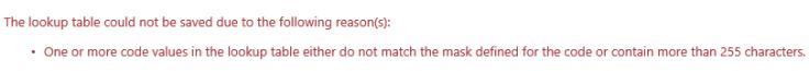 edit lookuptable error