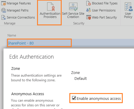 Enable Anonymous Authentication central administration