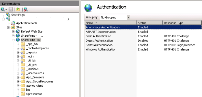 Enable Anonymous Authentication IIS