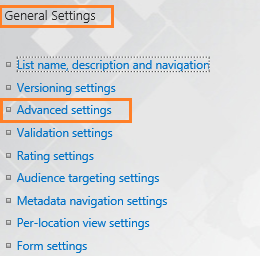 Advanced Setting in SharePoint List