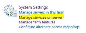Manage Services on SharePoint Server