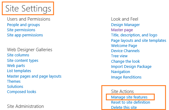 Manage Site Features in SharePoint