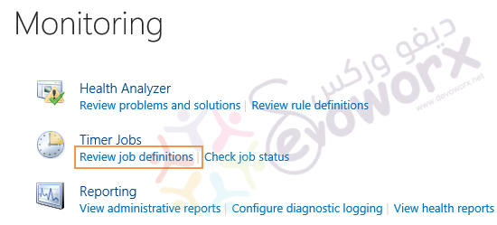 Monitoring - Review job definitions - Central Administration - SharePoint