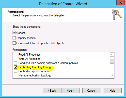 assign replicating directory changes In Windows Server