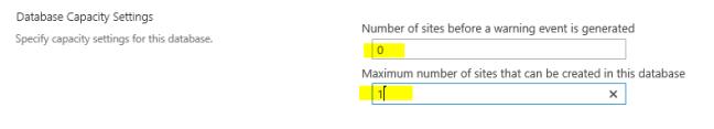 set databse capacit settings