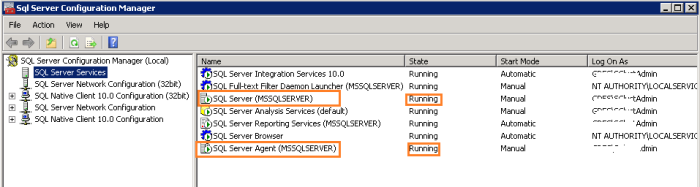 SQL Server Configuration manager window