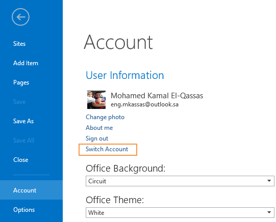Switch Account User in SharePoint Designer 2013