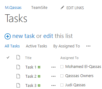 task list with custom view that assigned to me or my group epm