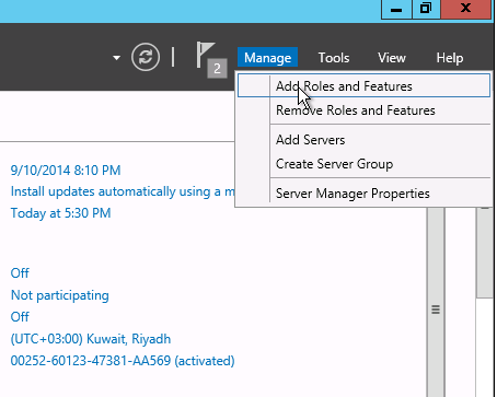 Add role and feature in Windows Server