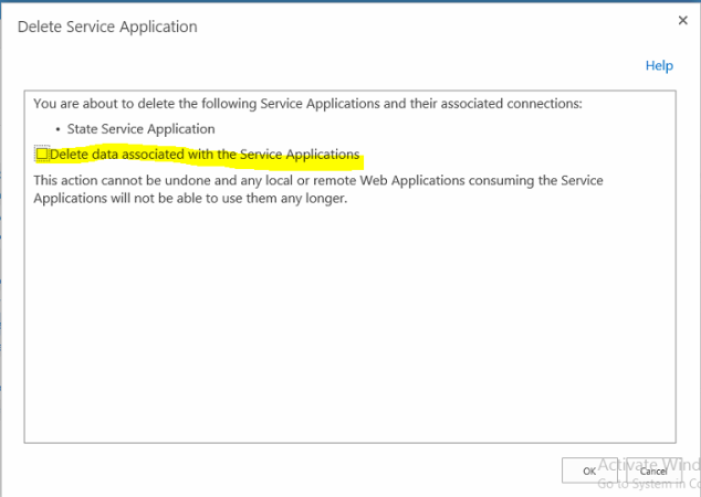 delete service application and all related