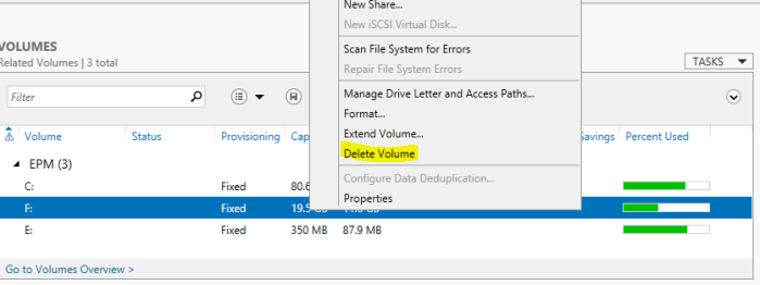 delete volume from server manager