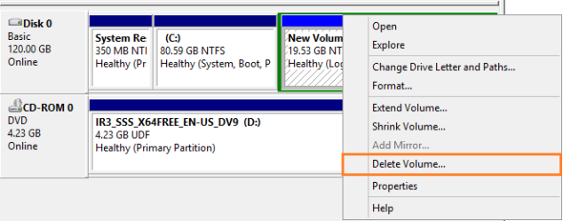 disk management delete Volume
