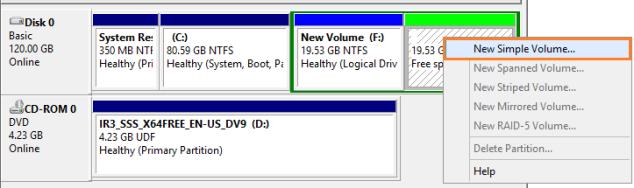 disk management new Volume