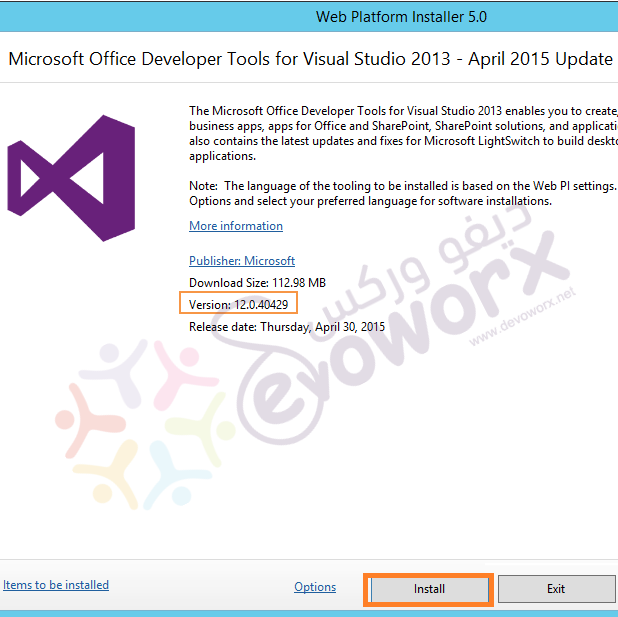 download office devloper tools for visual studio community 2013