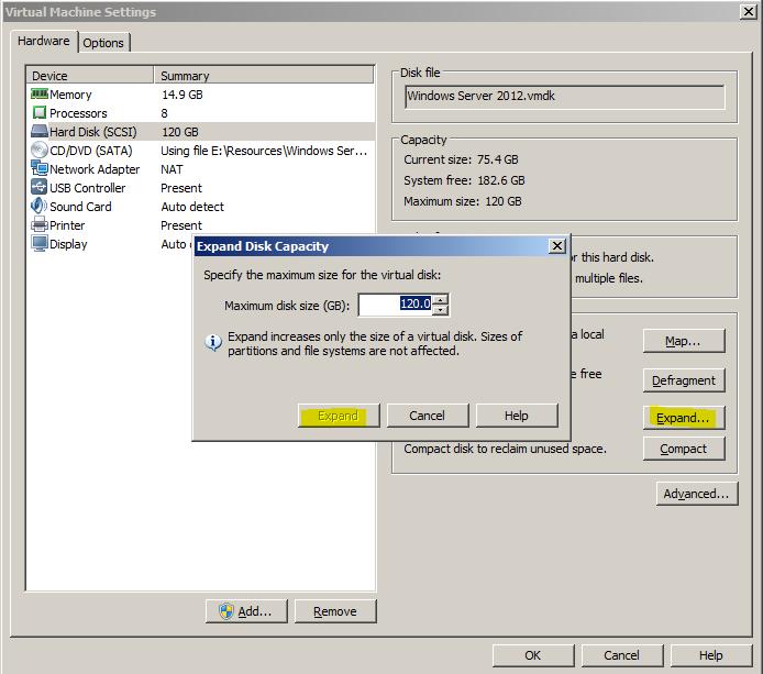 expand vm disk capacity