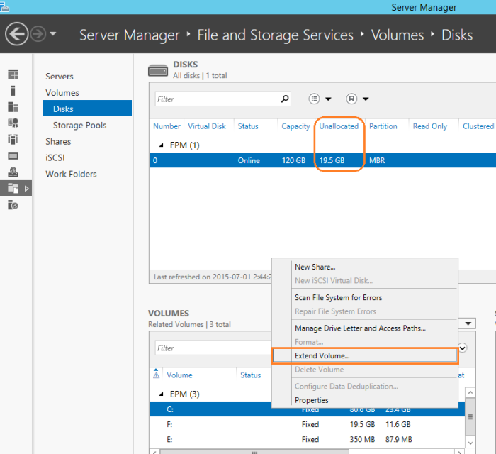 Expand Volume from server manager in windows server