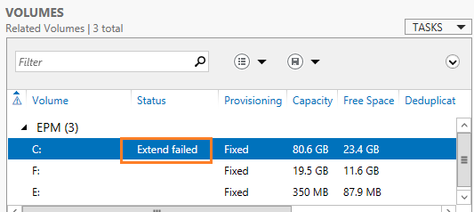 extend failed in windows server