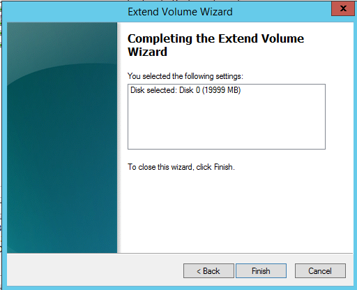 Extend Voulme Wizard completed