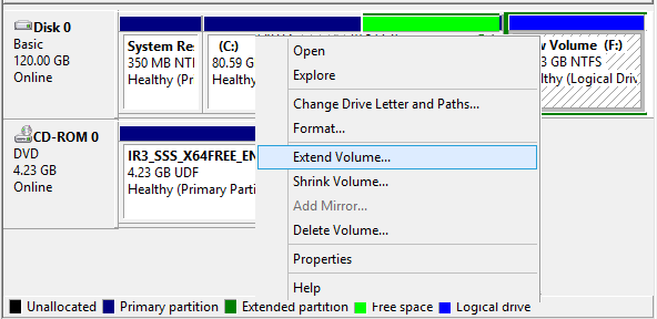 free space beside OS extend volume