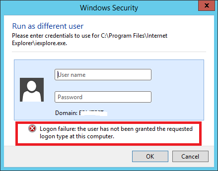 he user has not been granted the requested logon type at this computer