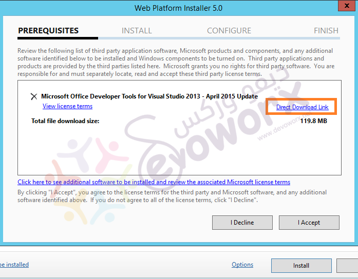 install office devloper tools for visual studio community 2013 - direct link