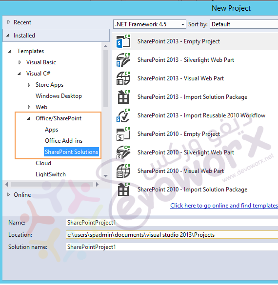 install Office SharePoint Template in visual studio community 2013