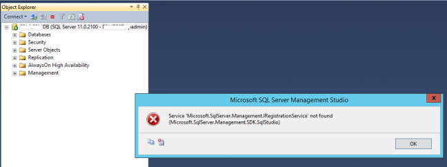 Service 'Microsoft.SqlServer.Management.IRegistrationService' not found