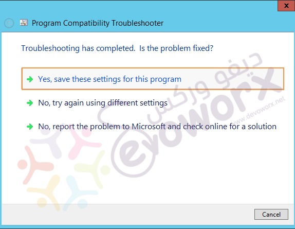 Program Compatibility Troubleshooter - yes, save these settings