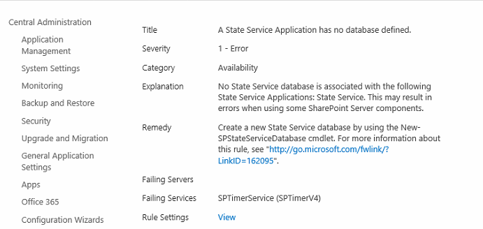 state serveice not have database
