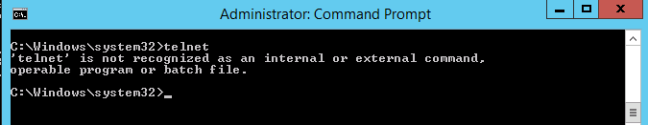 'telnet' is not recognized as an internal or external command, operable program or batch file.