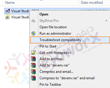 Visual Studio - Troubleshoot Compatibility