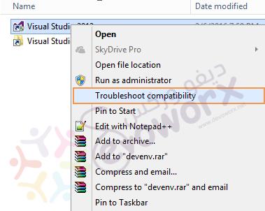 Visual Studio - Troubleshoot Compatibility