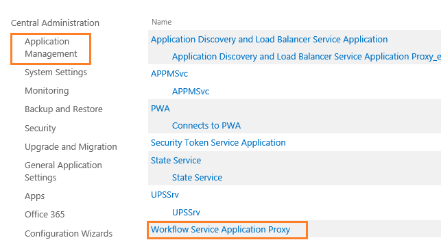 Workflow Service application proxy