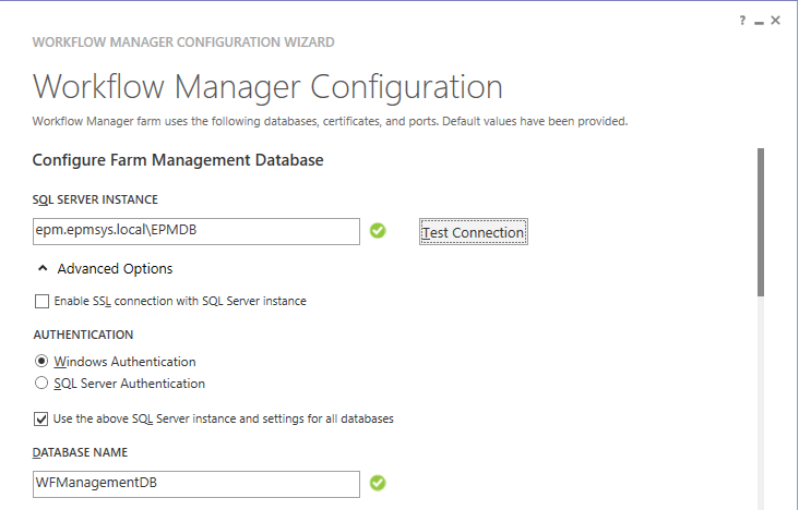 Configure Farm Management Database - Install and Configure Workflow Manager for SharePoint 2013