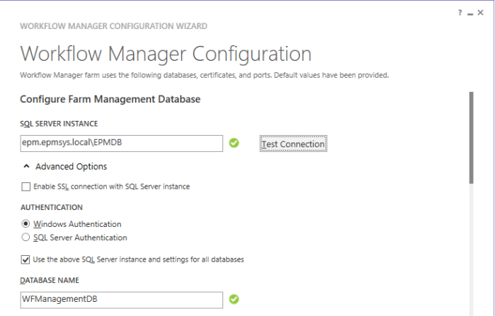 Configure Farm Management Database