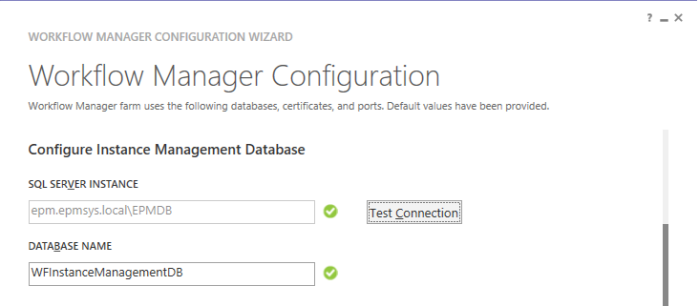 Configure Instance Management Database