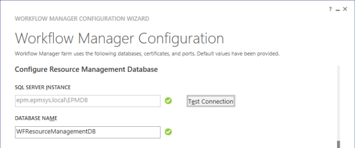 Configure Resource Management Database